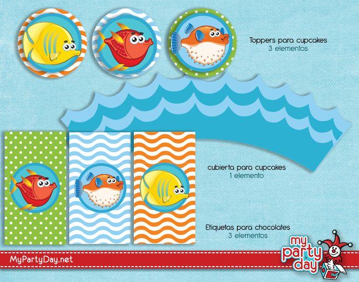 Printable's designs for a under the sea party / Diseño de Imprimibles para una fiesta bajo el mar