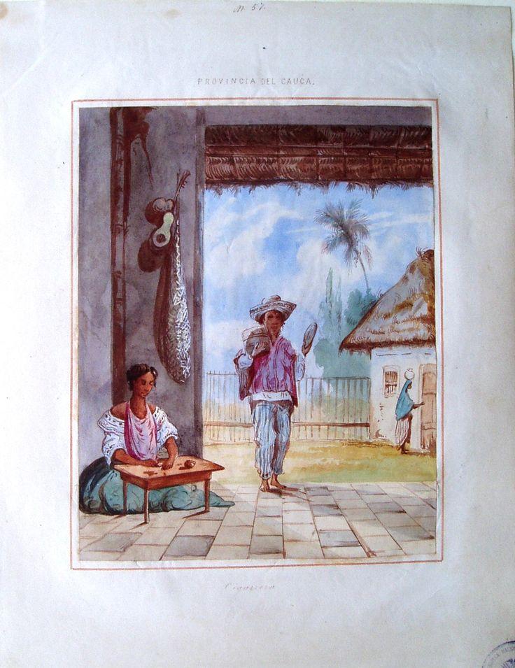 """""""Cigarrera. Provincia del Cauca"""", de Manuel María Paz, 1853. BNC, 4995."""