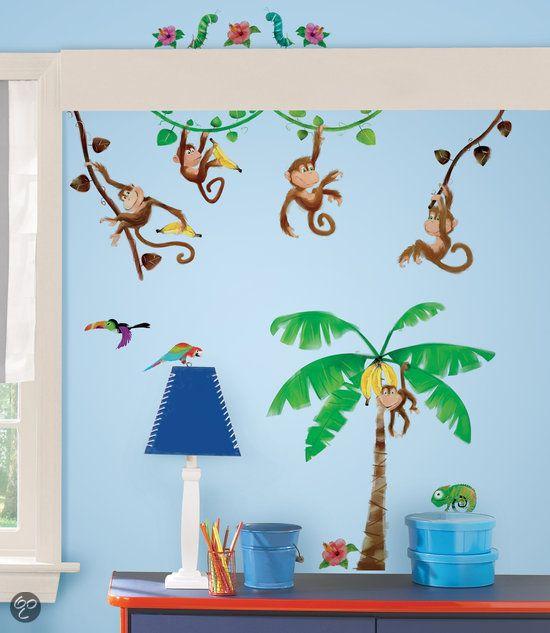Schattige apen maken een echte jungle van de slaapkamer!  Babys ...