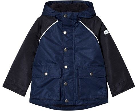 Joules Navy and Blue Fleece Line Waterproof Hooded Coat