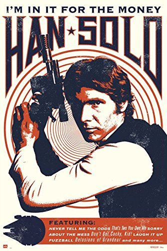 """Buy Star Wars - Movie Poster / Print (Han Solo - Retro / Vintage Style - Quotes) (Size: 24"""" x 36"""") - Topvintagestyle.com ✓ FREE DELIVERY possible on eligible purchases"""