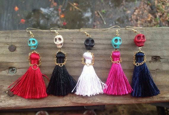 Dress to Kill Sugar Skull Earrings with a Little Dress and Little Hands Made of Metal Chain, Day of the Dead, High Fashion earrings