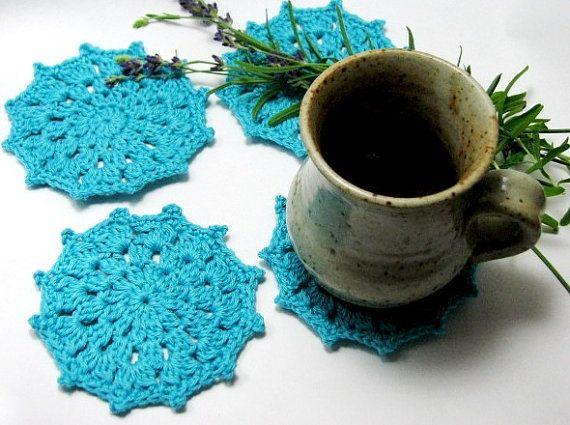 Blue Crochet Coaster Glass Coaster Crochet Doily by TheYarnShack