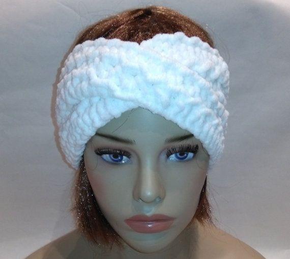 Headband Turban White headband Valentine gift by knittyshop