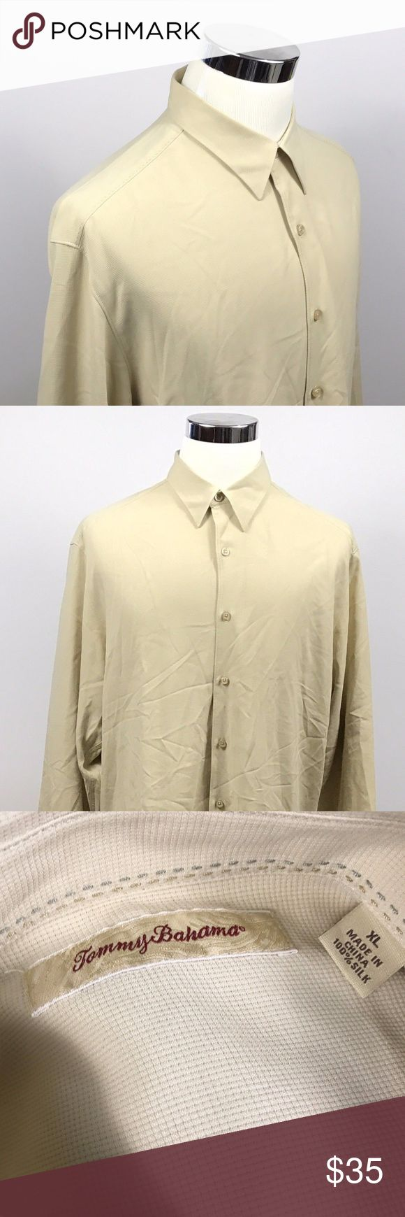 Tommy Bahama Mens XL 100% Silk Beige Ivory Checker Tommy Bahama Mens XL 100% Silk Beige Ivory Checker Long Sleeve Vacation Shirt  Measurements (inches): Pit to Pit (across the chest): 25.5 Sleeve (center collar to cuff): 37 Length (top of collar to hem): 34  Condition:  This item is in good pre-owned condition! Free from rips & stains.  All items come from a smoke/ pet free environment. Tommy Bahama Shirts Casual Button Down Shirts
