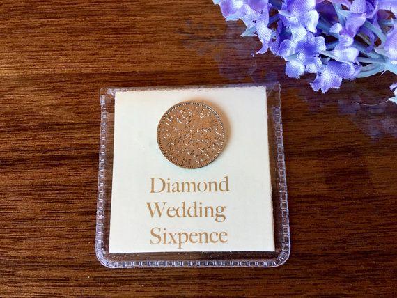 Diamond wedding sixpence -  60th wedding anniversary gift.