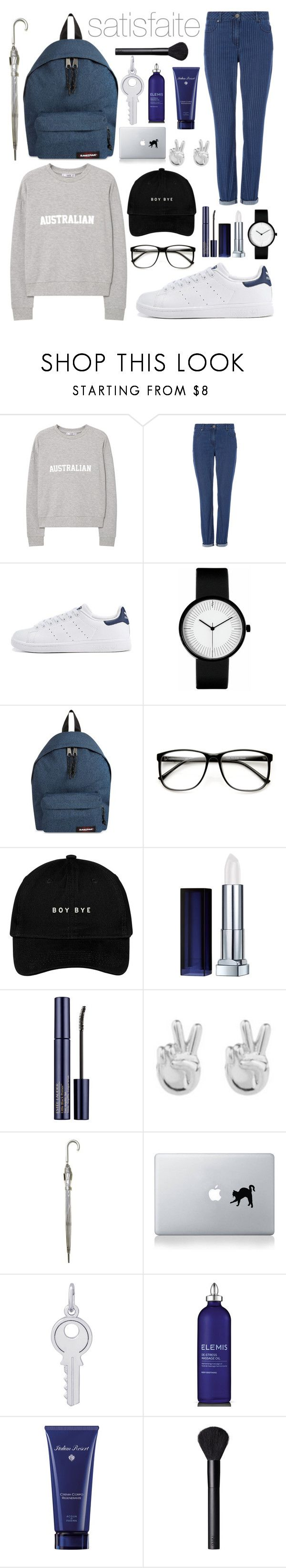 """""""satisfaite"""" by inesbrk ❤ liked on Polyvore featuring MANGO, adidas, Eastpak, ZeroUV, Maybelline, Estée Lauder, Rock 'N Rose, Fulton, Vinyl Revolution and Rembrandt Charms"""