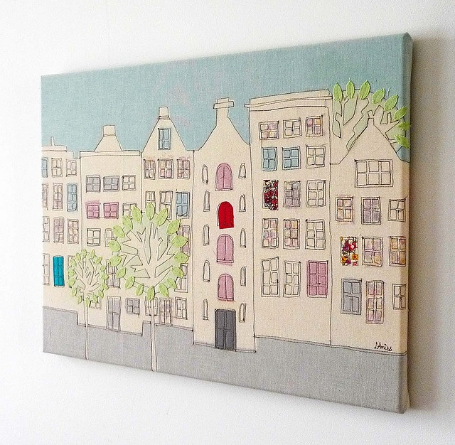 'Down My Street' textile canvas using free hand machine embroidery