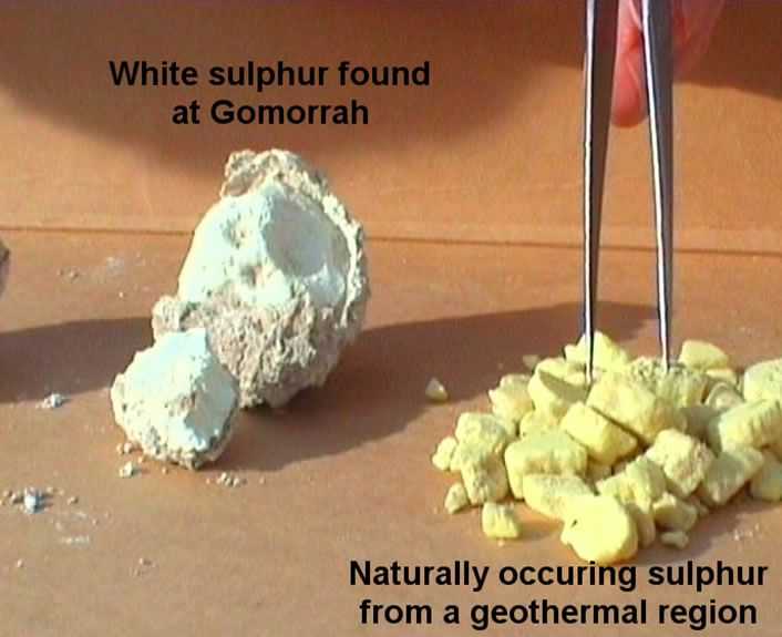 "Sodom and Gomorrah - white sulphur vs. natural sulphur - ""WHITE color indicates it has been COOKED"".  These white balls can still be found today in the Sodom & Gomorrah area.  Place in a metal spoon, light it, and it will burn through the spoon!"
