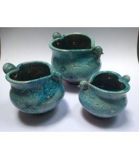Raku Love Bird Bowls, O'Riain Pottery