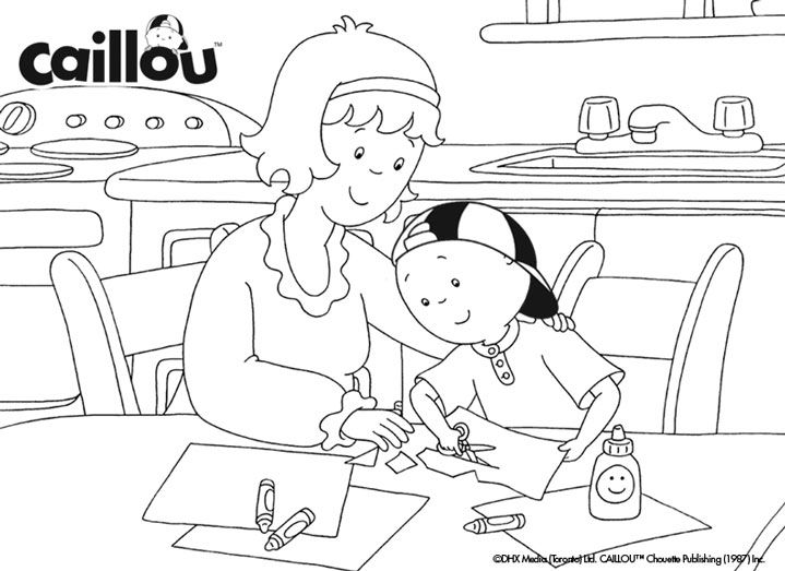 caillous family fun coloring sheet - Caillou Gilbert Coloring Pages