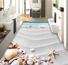3 d piso pvc papel de parede personalizado etiqueta da praia à beira-mar shell 3d revestimento do banheiro de pinturas de parede 3d mural papel de parede(China (Mainland))