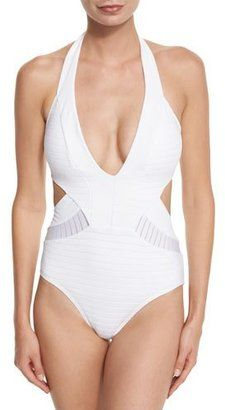 Shop Now - >  https://api.shopstyle.com/action/apiVisitRetailer?id=531585351&pid=uid6996-25233114-59 JETS by Jessika Allen Parallels Plunging Halter One-Piece Swimsuit, White  ...