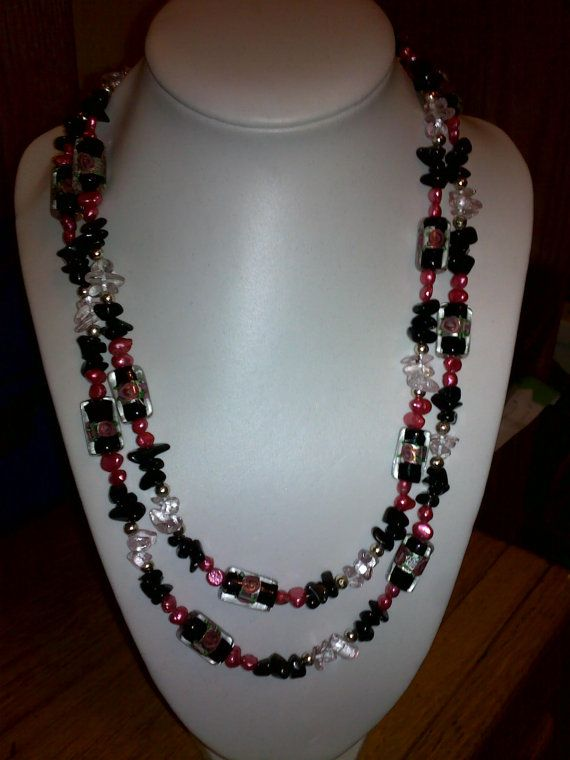 Double strand black glass beads with pink fresh water pearls