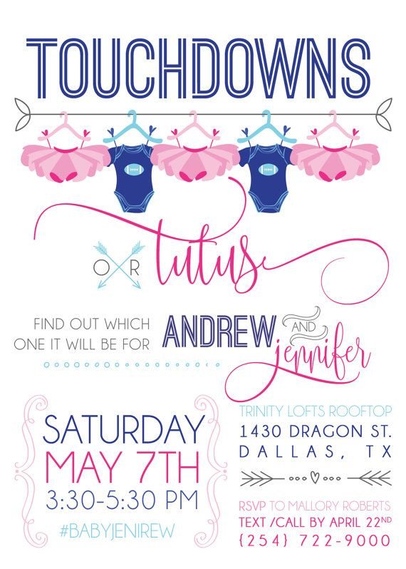 Touchdowns or Tutus gender reveal party invitations! Invites are DIY digital printable