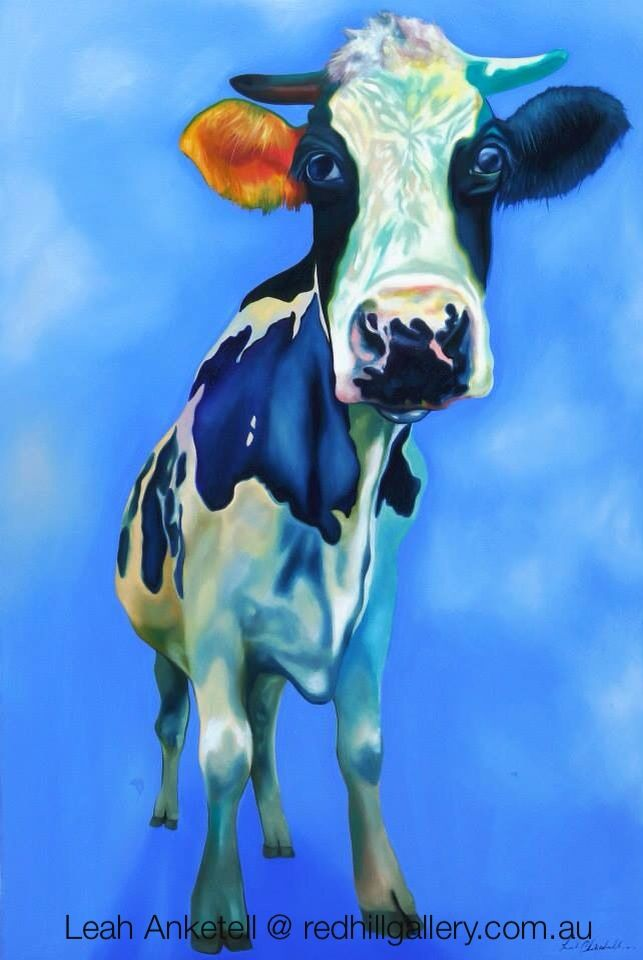 Leah Anketell cow painting. Red Hill Gallery, Brisbane. redhillgallery.com.au