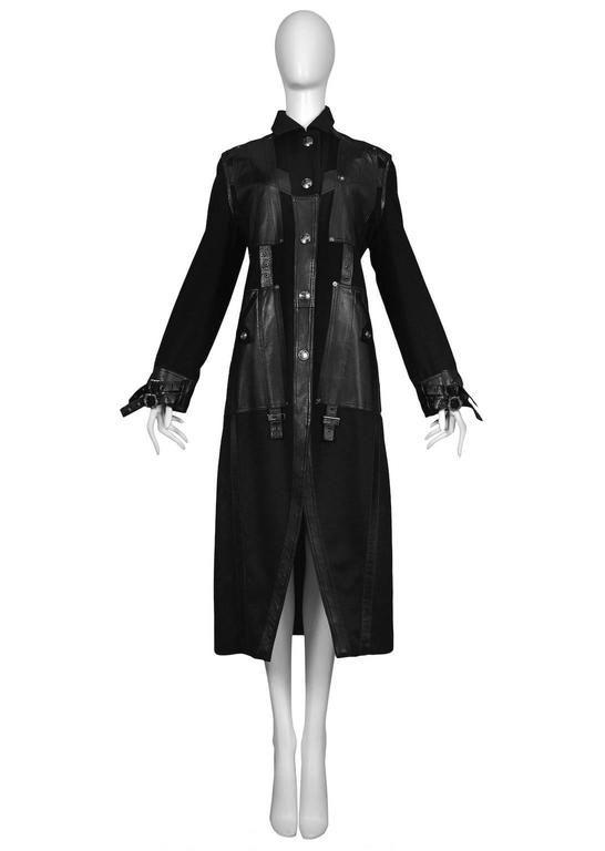 Christian Dior Black Wool & Leather Buckle Coat 1990