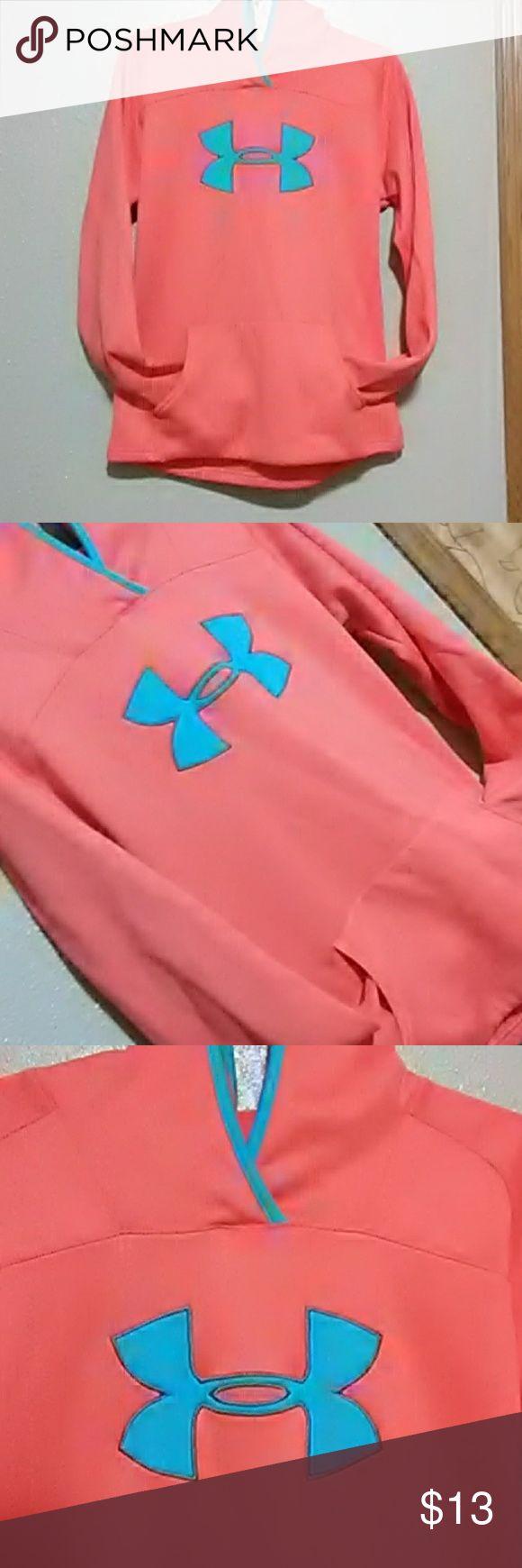 Under armour hoodie Women's medium Under armour Hoodie Orange/coral and blue Trade value $20 Under Armour Tops Sweatshirts & Hoodies