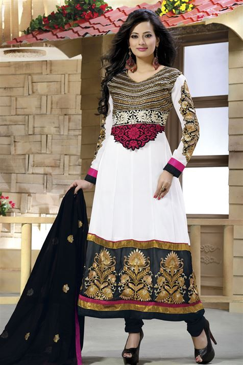 Stylish White, Black Georgette Embroidered Suit