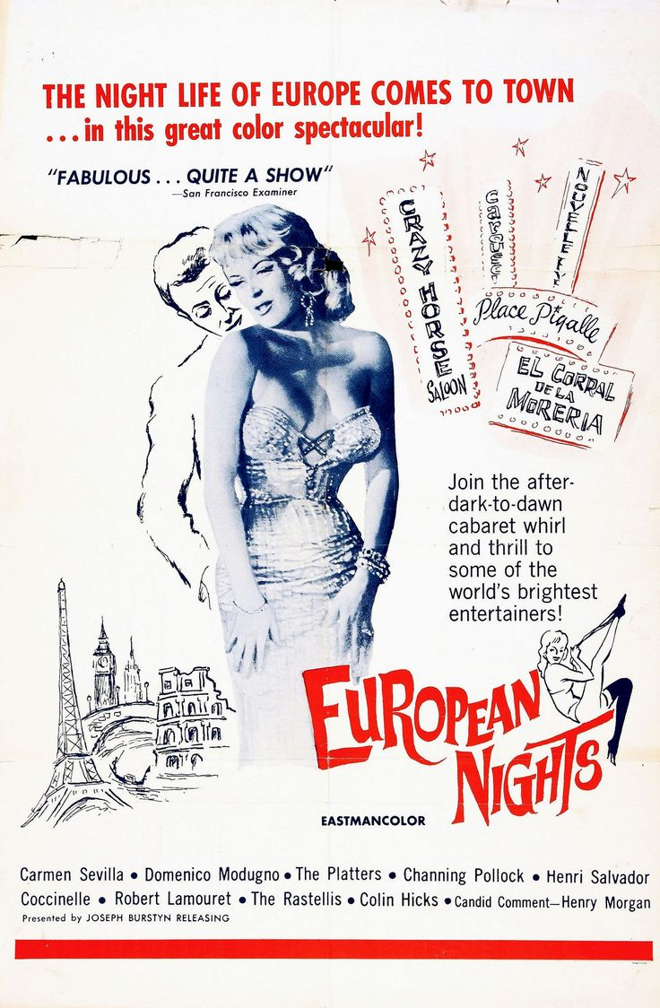 "U.S. poster for Alessandro Blasetti's ""Europa di notte"" (English title: ""Europen Nights"", 1959), featuring French transgender revue and burlesque star Coccinelle (Jacqueline-Charlotte Dufresnoy)."