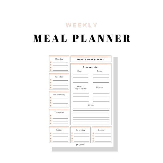 Weekly Meal Planner - Grocery List  www.justadored.com