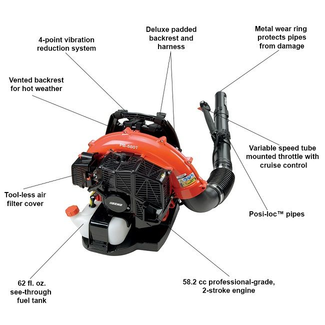 Echo 216 Mph 517 Cfm 58 2cc Gas 2 Stroke Cycle Backpack Leaf Blower With Tube Throttle Pb 580t Blowers Air Filter Cover Leaf Blower