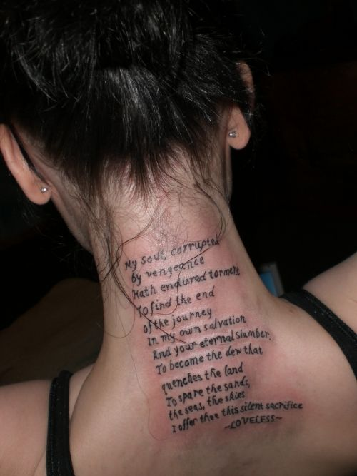 Genesis Quote Tattoo..I LOVE this, want something similar to this from a song :)