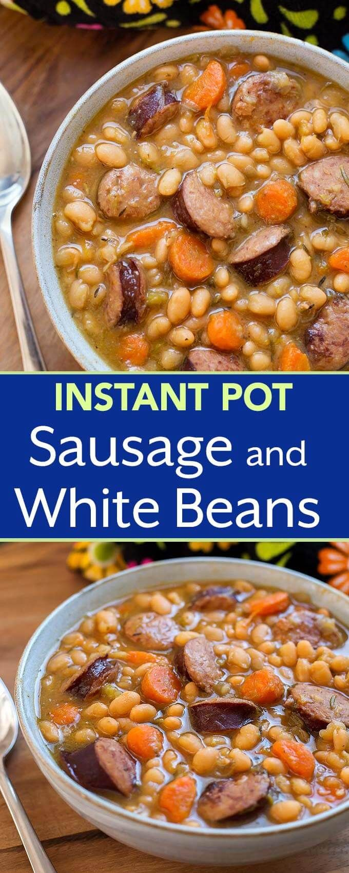Instant Pot Sausage and White beans with smoky kielbasa or your favorite smoked sausage, onion, garlic, carrots, and white beans. A tasty pressure cooker sausage and beans favorite. simplyhappyfoodie.com #instantpotrecipes #instantpotbeans #instantpotsausageandwhitebeans #pressurecookerbeans #pressurecookersausageandbeans
