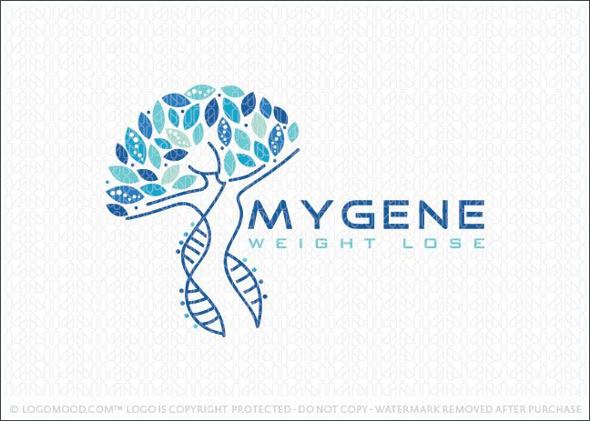 Logo for sale: Unique logo that combines a stylized human figure, tree and DNA double helix together to form this original and unique logo design. The the curving human figure is created to resemble a double helix DNA strands. The top portion creates the impression of a natural growing tree.