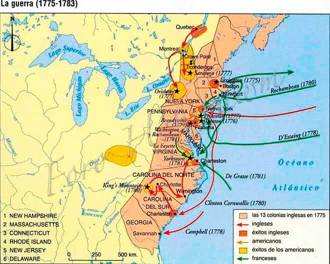 mapa independencia EEUU estados unidos
