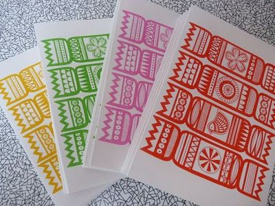 Jane Foster Blog: Screen printed Christmas Cracker cards