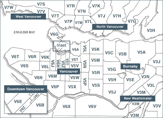 Vancouver Canada Zip Codes Map Pin on Van zip