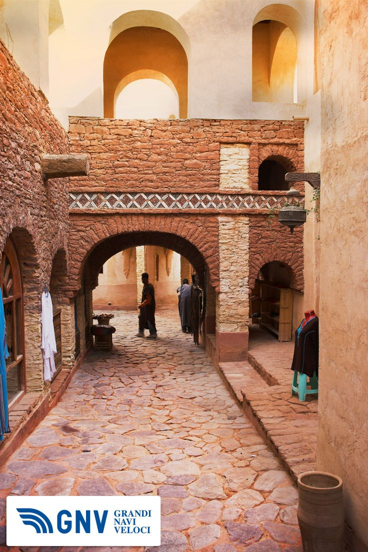 Charming old business street in old #medina #morocco  Reach Morocco with http://www.gnv.it/