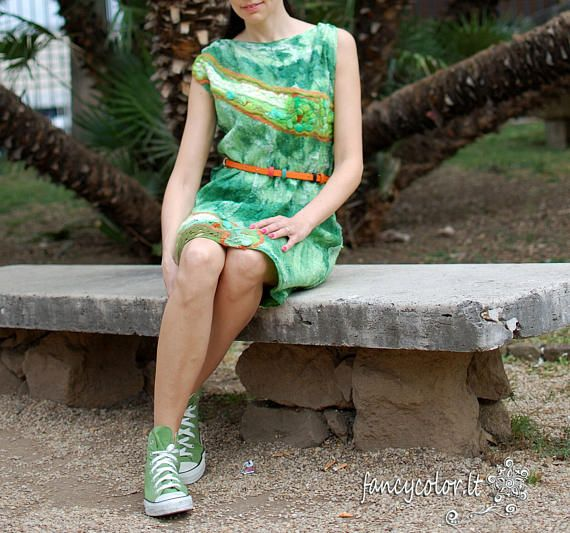 Check out this item in my Etsy shop https://www.etsy.com/listing/530900281/felt-dress-green-charm