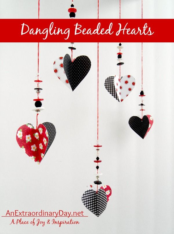 Hanging Paper Hearts Valentine's Day Tutorial - Low Cost DIY Valentine's Day Decorating Ideas