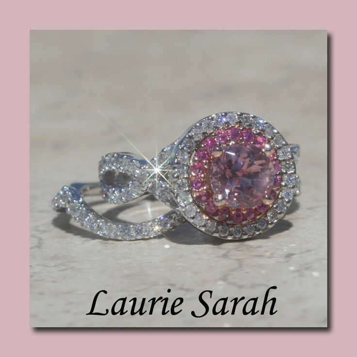 Light Pink Sapphire Engagement Ring and Wedding Ring Set with Diamonds LS17