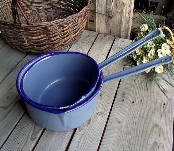 Blue Enamel Saucepans  Set of 2  French by MyFrenchBricABrac