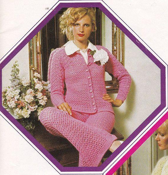 Crochet Suit Pattern Pants and Jacket Trouser Suit Digital