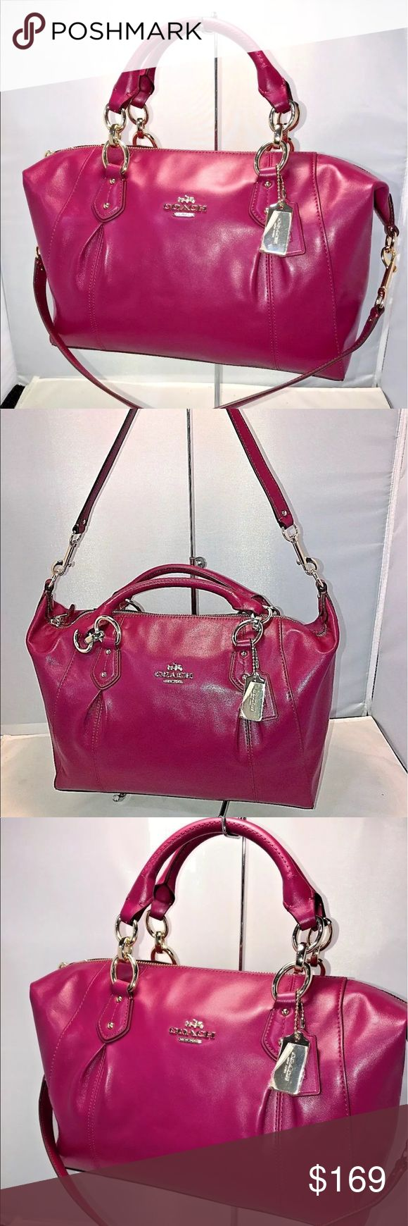 """Coach Collette Convertible Satchel in Fuchsia New Coach 58410E Colette Convertible Satchel in Smooth Coated Leather Fuchsia, Msrp $450.00 Dust bag and gift receipt included.  Smooth Coated leather  Semi Slouchy Silhouette  Gold Tone Hardware  Size is a solid medium or a small large.... very roomy  Inside zip, cell phone and multifunction pockets  Zip-top closure, fabric lining  Handles with 5 1/2"""" drop  Longer strap with 11 1/2"""" drop for shoulder wear  12"""" bottom - 14"""" top (L) x  9 1/2"""" (H)…"""