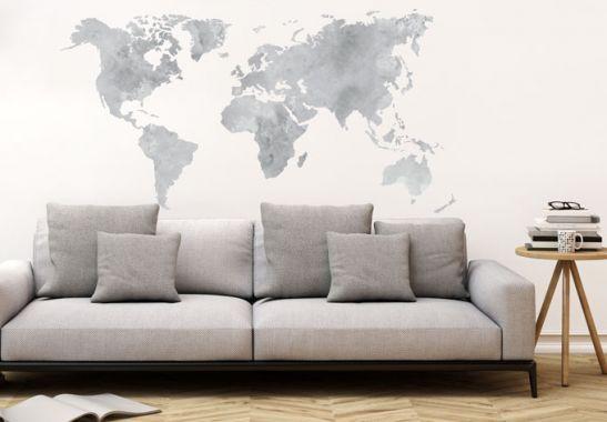Adesivi murali - Adesivo murale -mappamondo in stile acquarello (grigio)
