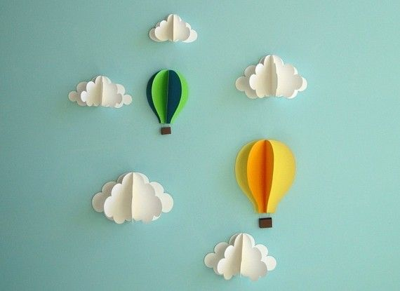 Hot Air Balloons and Clouds - 3D Paper Wall Art