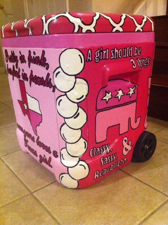Don't really care for this design... But still cool  Custom 48 QT Hand Painted Cooler via Etsy