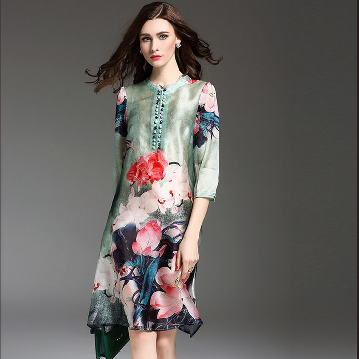 Fashion ink printed dress code show thin big foreign trade women's new hot  style 2017 chun