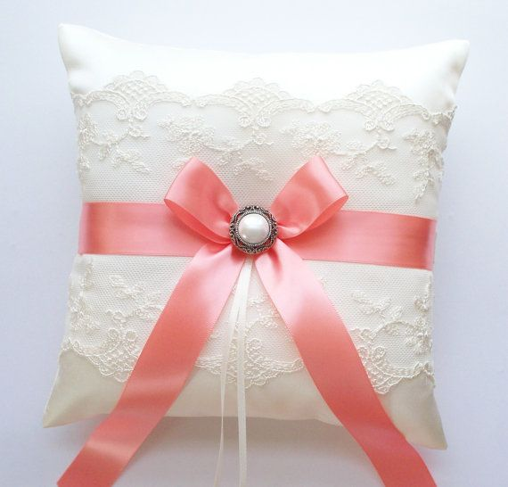 Wedding Ring Pillow in Ivory Lace Coral Bow and by JLWeddings