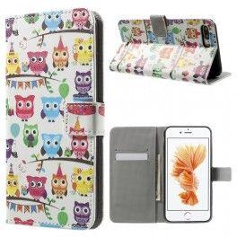 Apple iPhone 7 plus värikkäät pöllöt puhelinlompakko.
