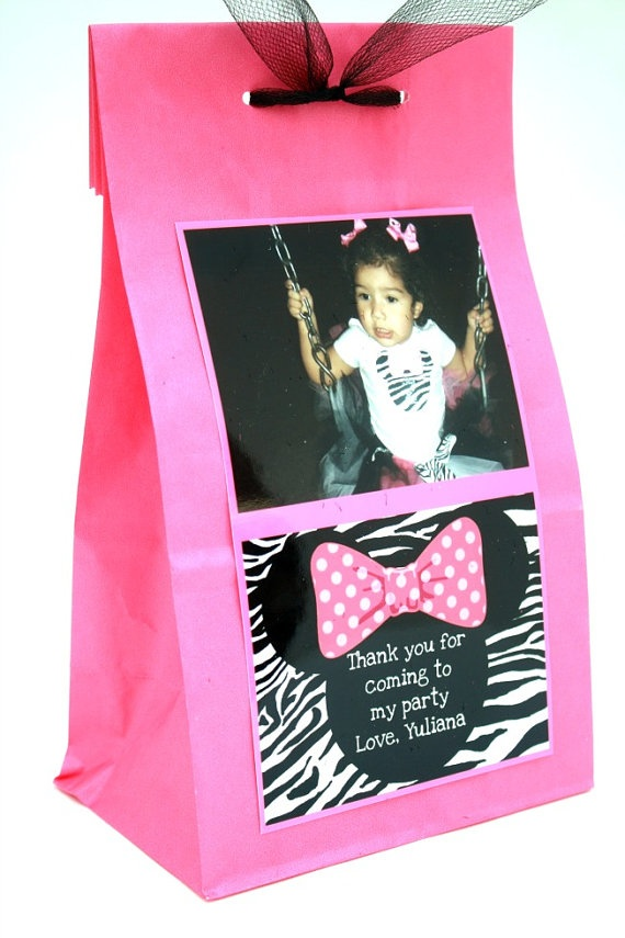 This is a great idea for goodie sacks. Pre-take pics with bday outfit for theme on and attach them to the goodie bags for the end of the party.