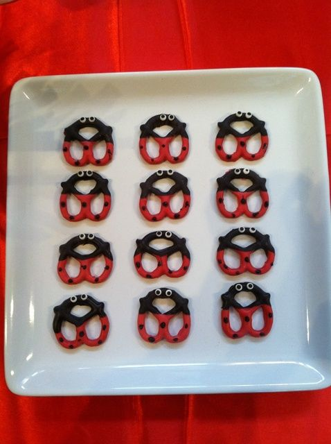 Decorated pretzels at a Ladybug Birthday Party!   See more ideas at CatchMyParty.com! #partyideas #ladybug