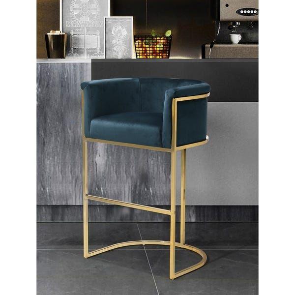 Silver Orchid Rowland Velvet Upholstered Bar Counter Stool In 2020