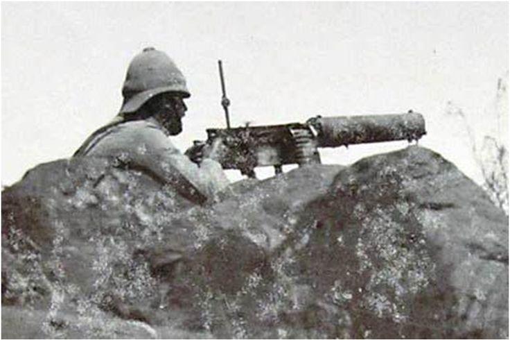 A Maxim gun position at Paardeberg.