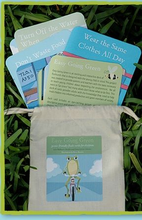 Easy Going Green Flashcards are designed to teach parents and children simple steps they can take to live more eco-friendly lives.  52 flashcards make up a deck, which are printed on recycled stock with vegetable-based ink. The flashcard collection comes in a reusable muslin bag.